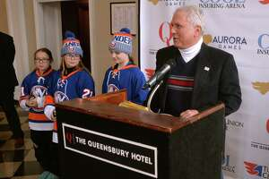 Aurora Games organizer Jerry Solomon speaks at a news conference Friday at the Queensbury Hotel. (Courtesy of Behan Communications)