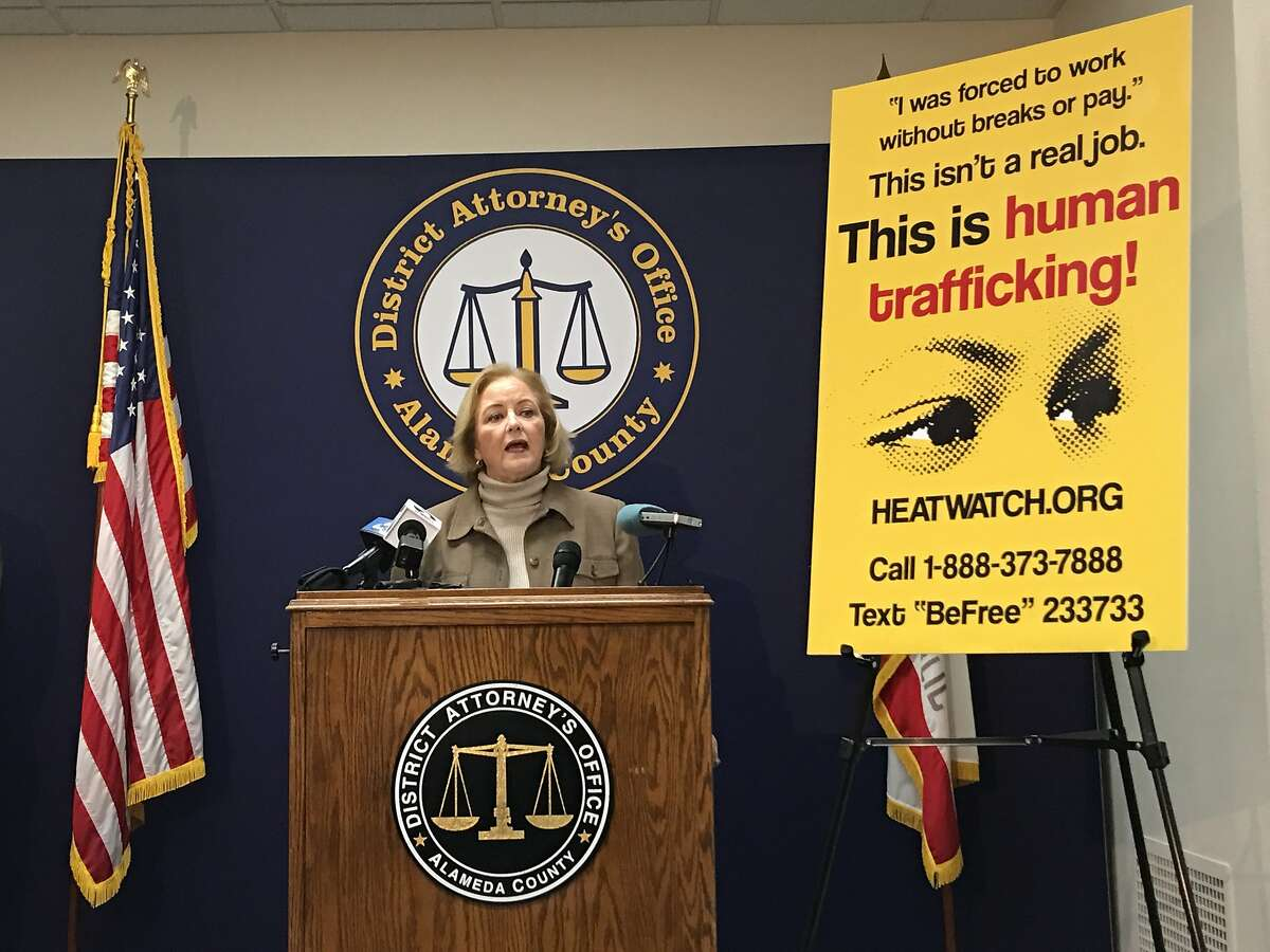 Alameda County District Attorney Nancy O'Malley unveils messaging against human trafficking.