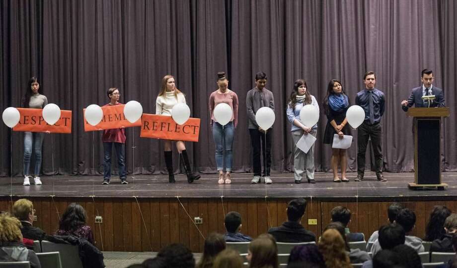 Seth Christofor, a senior at the Academy of Information Technology & Engineering, speaks to the audience during a walkout to honor the victims of the Parkland school shooting in the Rippowam Middle School auditorium. The poor lighting and sound systems in the venue have been criticized by users, leading to renters who use the venue to have to borrow their own systems. A project to improve the system has been in limbo for years, causing Board of Education members to ask when things will be fixed. Photo: Mark Conrad / For Hearst Connecticut Media / © 2018 Mark F Conrad