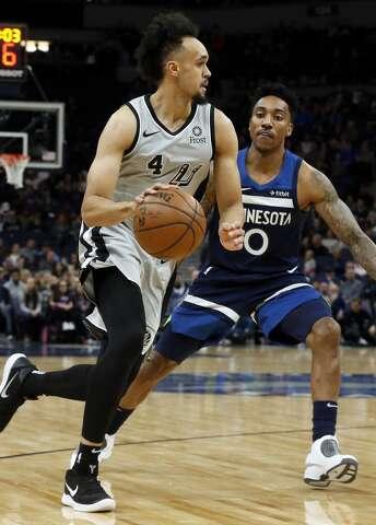 baa7e50b437 Spurs overcome absence of DeRozan to beat Wolves - San Antonio ...