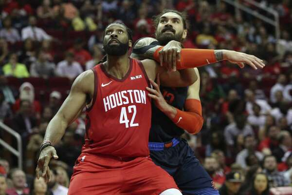 The Rockets' main big guy, the 6-11 Nene, left, won't see his minutes increase during Clint Capela's absence.