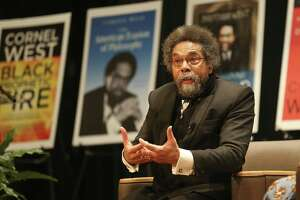 African-American scholar and Harvard University professor Cornel West answers questions after giving an address at Prairie View A&M University Friday, Jan. 18, 2019.