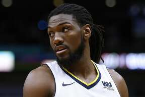 NEW ORLEANS, LA - DECEMBER 06: Kenneth Faried #35 of the Denver Nuggets reacts during the second half of a game against the New Orleans Pelicans at the Smoothie King Center on December 6, 2017 in New Orleans, Louisiana. NOTE TO USER: User expressly acknowledges and agrees that, by downloading and or using this Photograph, user is consenting to the terms and conditions of the Getty Images License Agreement. (Photo by Jonathan Bachman/Getty Images)