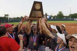 Atascocita celebrates after rallying to top Comal Canyon 5-3 in the Class 6A state championship game during the UIL State Softball Championships at Red & Charline McCombs Field on Saturday, June 2, 2018, in Austin.
