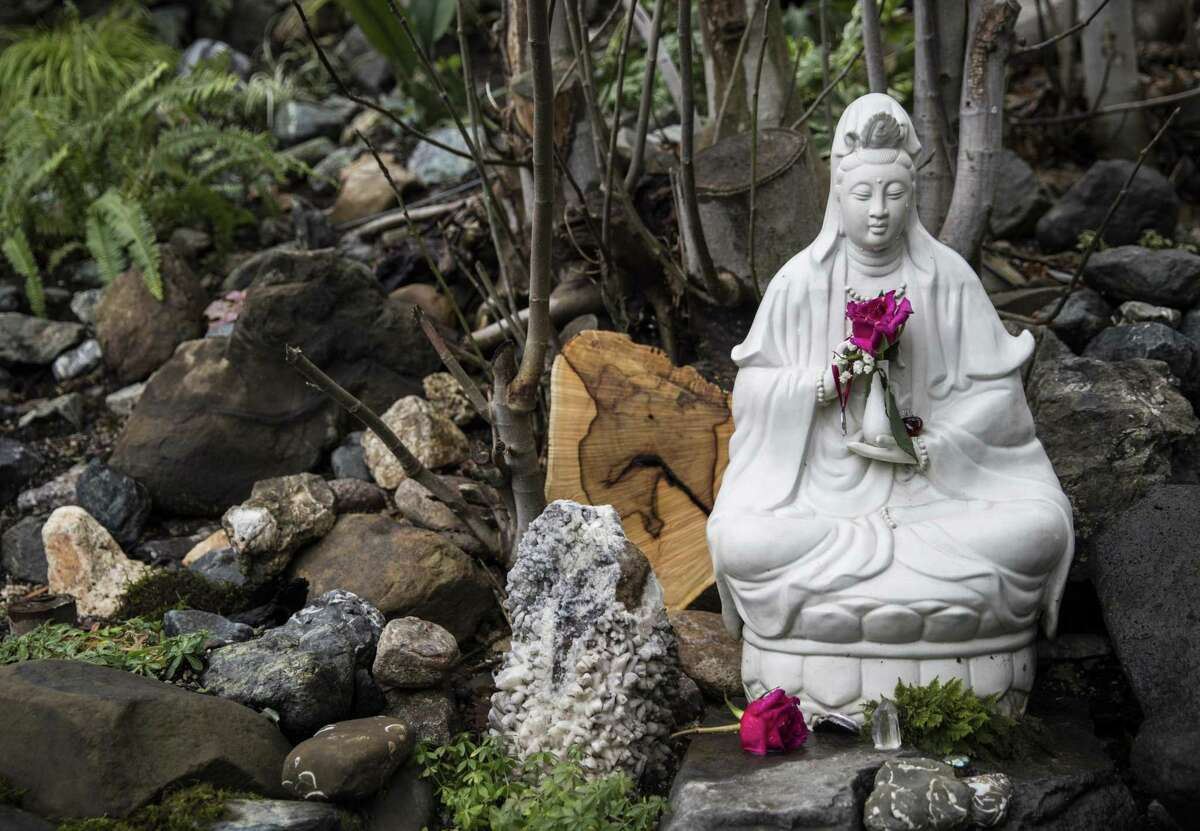 A statue near Harbin's cold-plunge pool survived the fire that ripped across the retreat and nearby mountain communities four years ago.