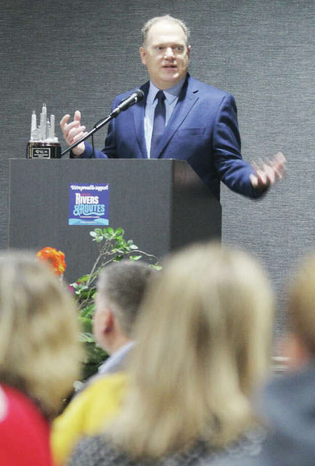 Brett Stawar, president and CEO of the Great Rivers and Routes Tourism Bureau speaks during the groups annual Tourism Summit Thursday in Alton. Tourism has an economic impact of $538.8 million in the four-county area covered by the bureau. Photo: Scott Cousins | The Telegraph