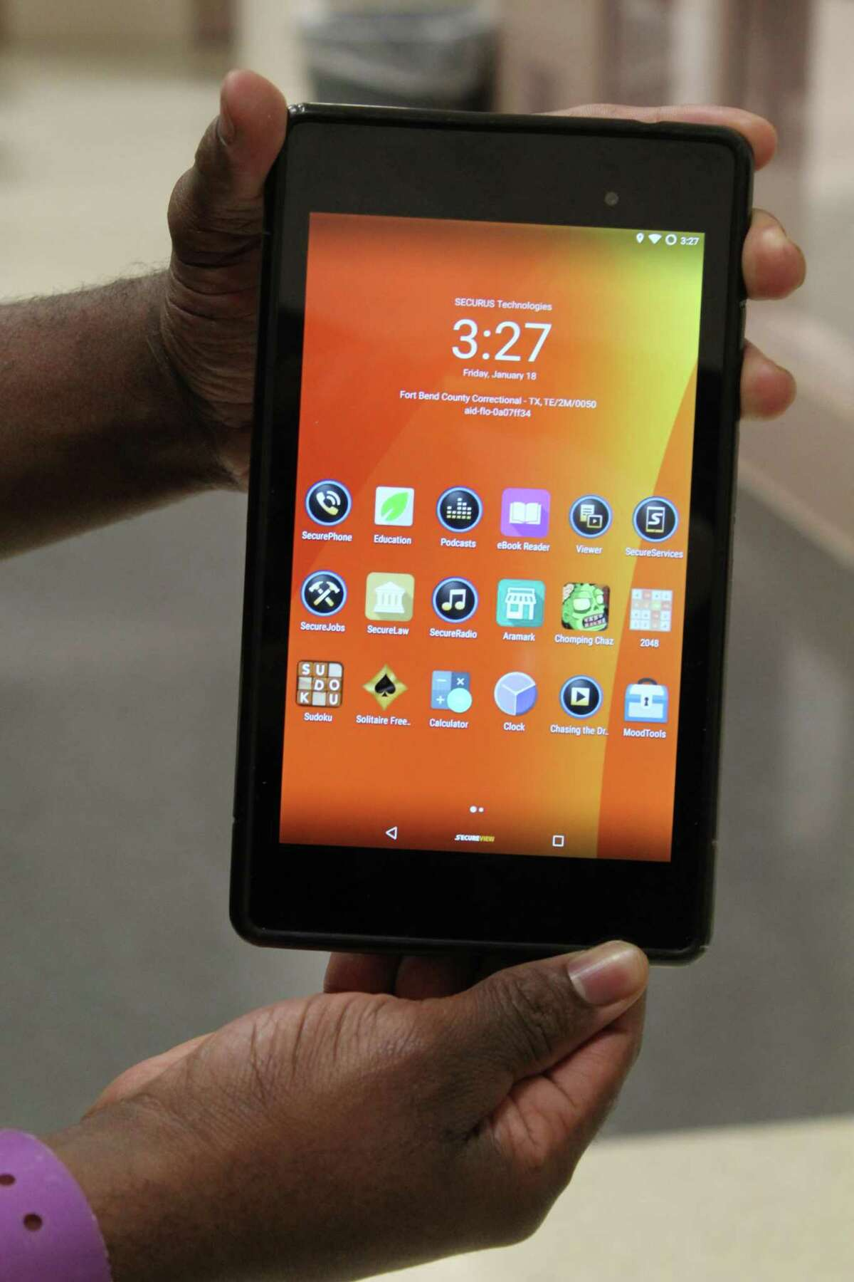 Small personal tablets provided by Securus Technology pre-loaded with a special app created by the Brazoria County Sheriff's Department's food vendor, Aramark, allows inmates to order snacks and other items from the jail commissary and send messages to jailers. Inmates can also read books and listen to pre-loaded podcasts among other things. The new program is designed to create a safer environment for jail staff and inmates, officials say.