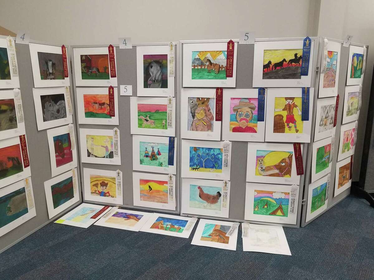 Art submissions by Huffman ISD students for the Houston Livestock Show and Rodeo School Art Program lined the walls of Huffman Elementary School Room 319 for the Rodeo Art display on Jan. 17