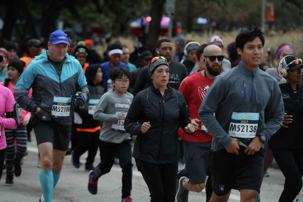 Runners participate in the We Are Houston 5K presented by Aramco and Chevron Saturday, Jan. 19, 2019, in Houston.