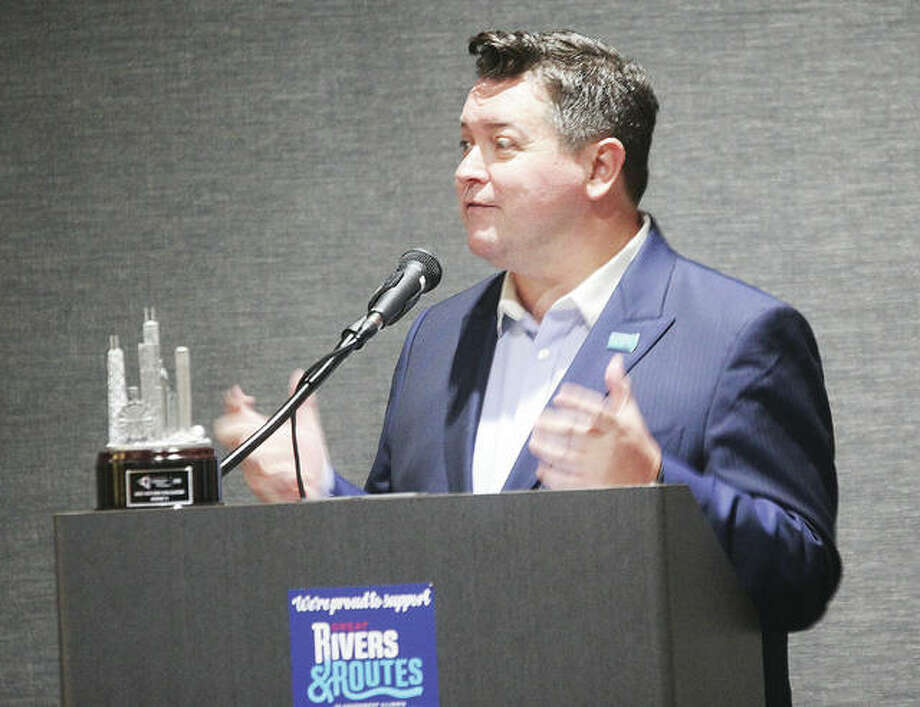 Daniel Thomas, president and CEO of TimeZoneOne, a global creative communications agency speaks about storytelling at this years Tourism Summit, an annual event by Great Rivers and Routes of Southwestern Illinois, held Thursday morning at Altons Best Western Premier. Photo: Scott Cousins | The Telegraph