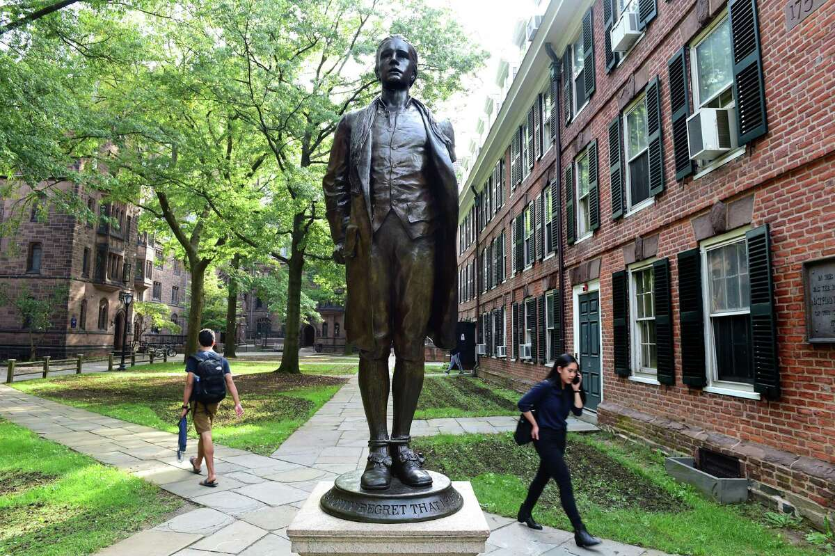 A bronze statue of Nathan Hale on Yale University's Old Campus in New Haven photographed on Oct. 2, 2018.