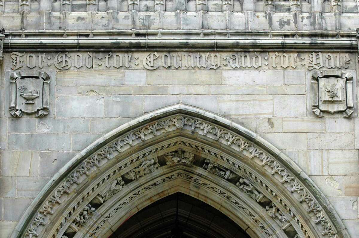 Gate at Harkness Tower on High Street At Yale University.