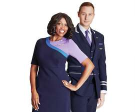 United's new flight attendant uniforms incorporating purple are designed by Tracy Reese and Brooks Brothers