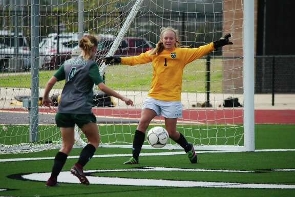 Clear Falls goalkeeper Maddy Anderson (1) recorded a clean sheet in the Lady Knights' 0-0 tie with Friendswood Thursday at Challenger Columbia Stadium.