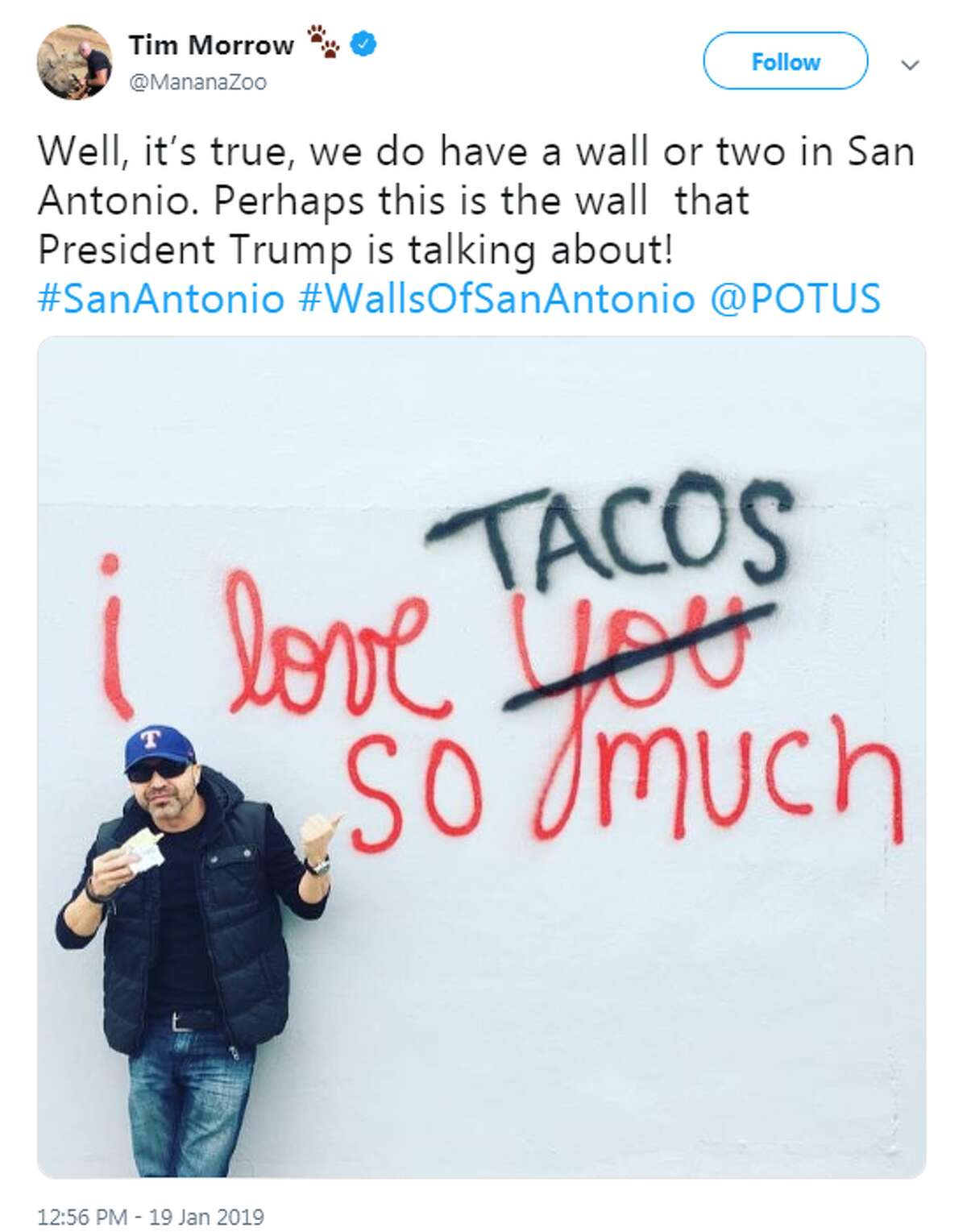 """@MananaZoo: """"Well, it's true, we do have a wall or two in San Antonio. Perhaps this is the wall that President Trump is talking about!"""""""