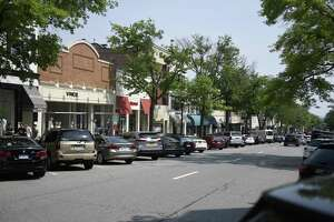 Businesses line Greenwich Avenue in downtown Greenwich. The avenue, with its abundance of luxury stores and proximity to the highway, is a destination for thieves.