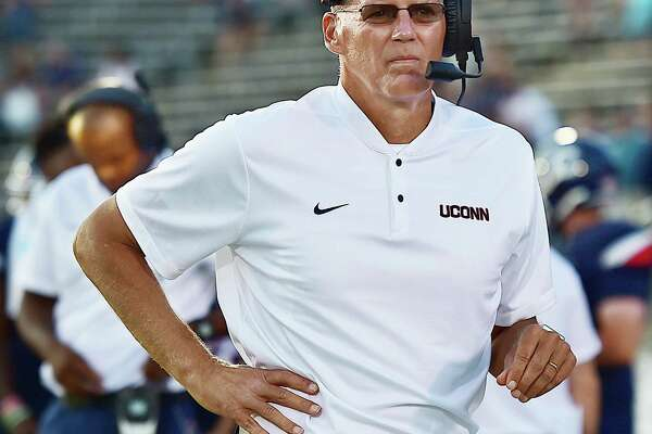 UConn head coach Randy Edsall on the sidelines in the Huskies season opener against University of Central Florida Knights in an American Athletic Conference matchup Thursday night August 30, 2018, at Pratt & Whitney Stadium at Rentschler Field in East Hartford.