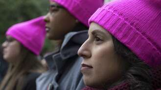 Thousands of pink hat-wearing, sign-hoisting progressive feminists assembled for the third straight annual Women's March in downtown Houston.