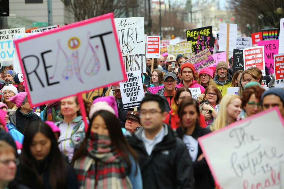 Scenes from the third annual Women's March from Cal Anderson Park to Seattle Center, Saturday, Jan. 19, 2018. Thousands came out to protest Trump Administration policies including those concerning women's health, immigration and environmental issues. Photo: GENNA MARTIN, Genna Martin, Seattlepi.com / SeattlePI