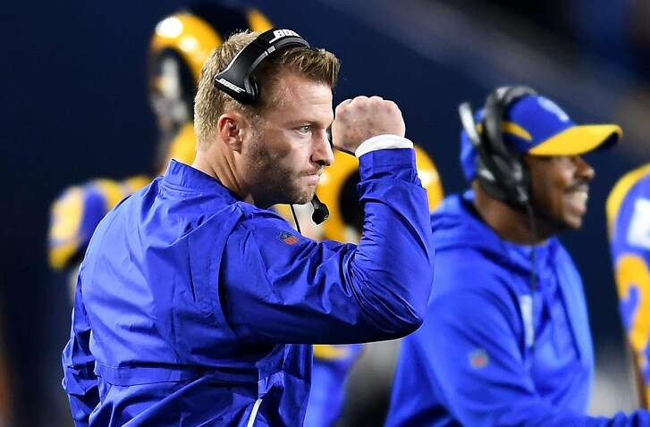 Los Angeles Rams head coach Sean McVay celebrates a touchdwon by running back Todd Gurley against the Dallas Cowboys during the NFL Divisional Round at the Los Angeles Memorial Coliseum on Saturday, Jan. 12, 2019. The Rams advanced, 30-22. (Wally Skalij/Los Angeles Times/TNS)