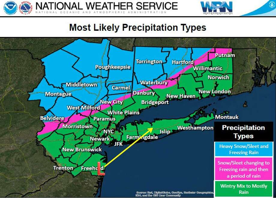 National Weather Service provided the above graphic in a weather update on Jan. 19, 2019. Photo: National Weather Service / Contributed Photo / Connecticut Post Contributed