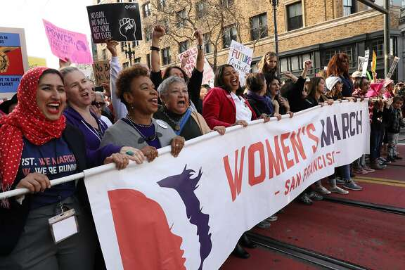 Congresswoman Barbara Lee, third from left, and San Francisco Mayor London Breed, center, chant as they march on Market St. during the Women's March in San Francisco, Calif., on Saturday, January 19, 2019. The event brought thousands of people to the city for a march aimed at push back against United States President Donald J. Trump and his policies and to remind people of the political power of women.