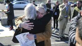 Mayor Ron Nirenberg hugs a supporter as he announces his bid for re-election as city mayor with family and supporters at Alamo Stadium on Saturday, Jan. 19, 2019. Citing economic and social prosperity as some of the reasons the city has progressed under leadership, Nirenberg called out to his supporters to once again rally behind him in his second bid for the city's top elected office. The city skyline provided the backdrop as a moderate crowd with signs, musicians, a mariachi band and some council members completed the scene for Nirenberg to ask voters that he one to continue to lead the city for another two years. City elections take place on May 4th. (Kin Man Hui/San Antonio Express-News)