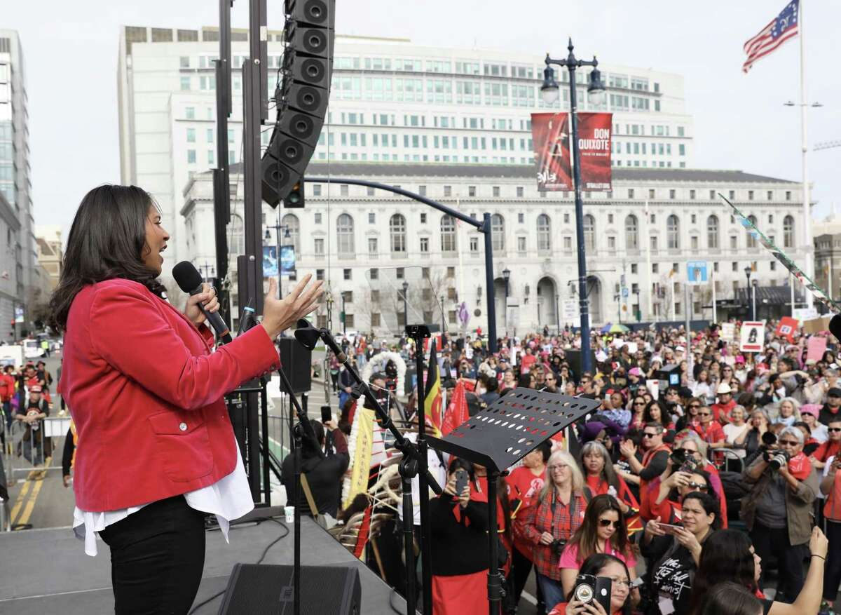 San Francisco Mayor London Breed delivers a speech during the Women's March rally at Civic Center Plaza.