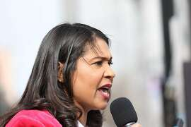 San Francisco Mayor London Breed delivers a speech during the Women's March at Civic Center Plaza in San Francisco, Calif., on Saturday, January 19, 2019. The event brought thousands of people to the city for a march aimed at push back against United States President Donald J. Trump and his policies and to remind people of the political power of women.