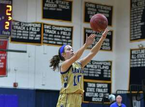 Cyleigh Wilson of the Newtown Nighthawks shoots a jump shot during a game against the Notre Dame Fairfield Lancers on Friday at Notre Dame Fairfield High School in Fairfield.