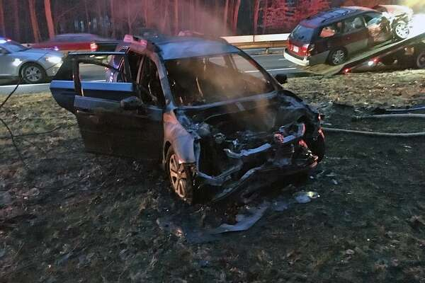 Around 4:45 p.m., Westport fire units responded to Route 15 north for a reported crash with a car on fire. The initial response included two fire engines, one rescue truck and a shift commander from Westport. One truck and a shift commander from Fairfield also responded.