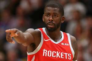 DENVER, CO - NOVEMBER 13:  James Ennis #8 of the Houston Rockets plays the Denver Nuggets at the Pepsi Center on November 13, 2018 in Denver, Colorado. NOTE TO USER: User expressly acknowledges and agrees that, by downloading and or using this photograph, User is consenting to the terms and conditions of the Getty Images License Agreement.  (Photo by Matthew Stockman/Getty Images)