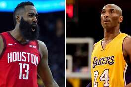 Rockets' James Harden and Lakers legend Kobe Bryant.