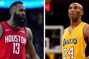Rockets' James Harden and Lakers legend Kobe Bryant.