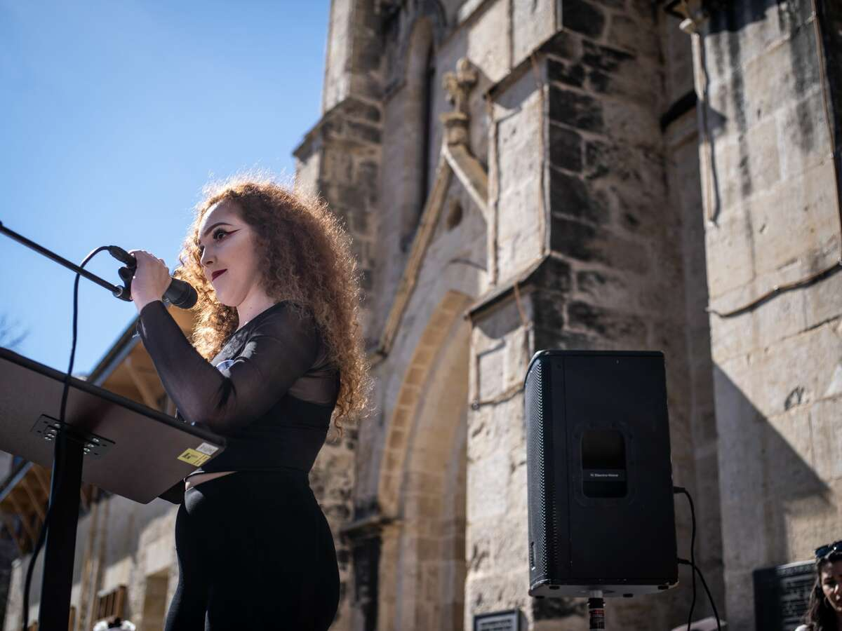 """Makayla Montoya, a leader of the organization Sex Workers of San Antonio, gives a speech onstage during the Women's March rally on Saturday, January 19, 2019 held in front of the San Fernando Cathedral in downtown San Antonio, Texas. """"If your feminism excludes us, it is not feminism,"""" Montoya said onstage."""
