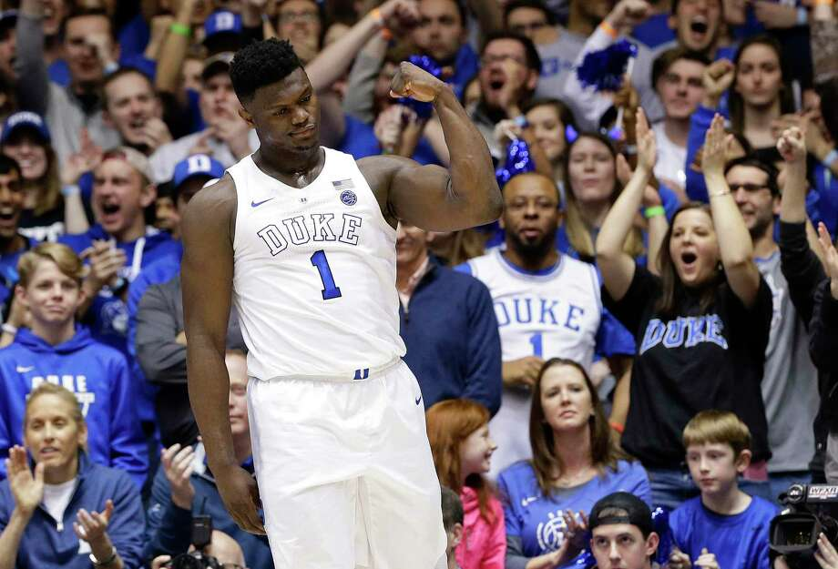 Duke's Zion Williamson (1) reacts following a basket against Virginia during the first half of an NCAA college basketball game in Durham, N.C., Saturday, Jan. 19, 2019. (AP Photo/Gerry Broome) Photo: Gerry Broome / Copyright 2019 The Associated Press. All rights reserved