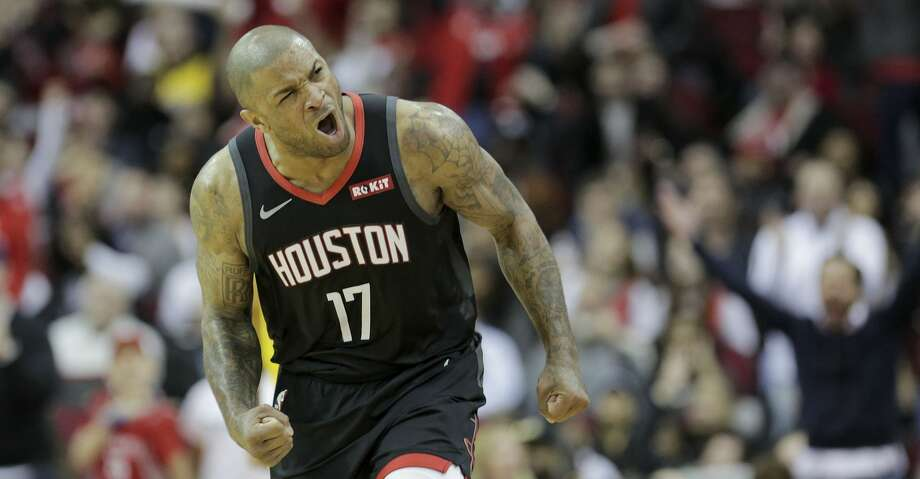 Houston Rockets forward PJ Tucker (17) reacts to making a shot in the second half against Los Angeles Lakers at the Toyota Center on Saturday, Jan. 19, 2019 in Houston. Rockets won the game in overtime 138-134. Photo: Elizabeth Conley/Staff Photographer