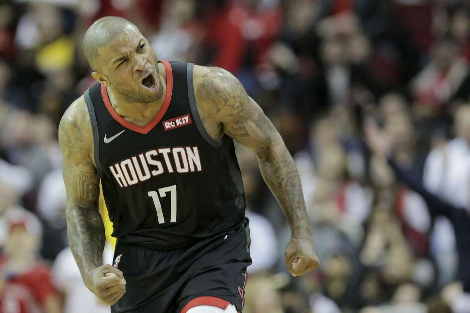 Houston Rockets forward PJ Tucker (17) reacts to making a shot in the second half against Los Angeles Lakers at the Toyota Center on Saturday, Jan. 19, 2019 in Houston. Rockets won the game in overtime 138-134.