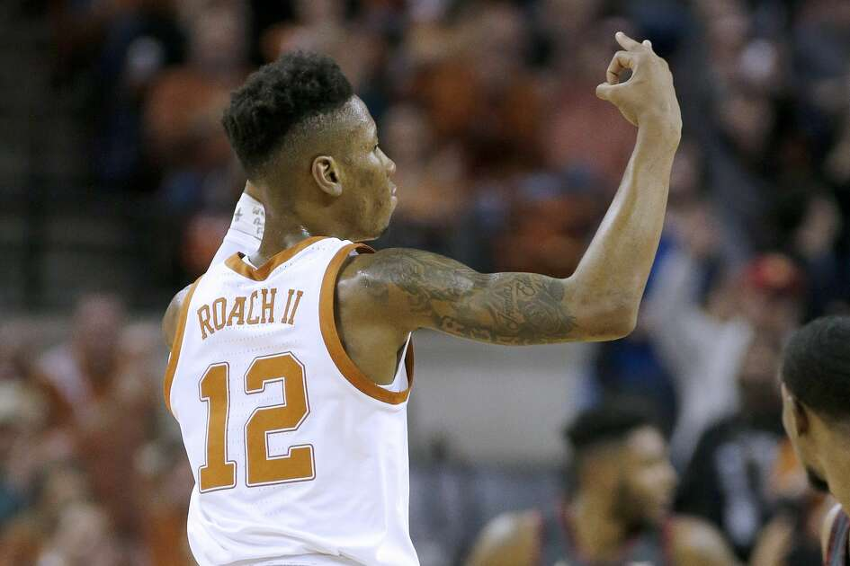 AUSTIN, TEXAS - JANUARY 19: Kerwin Roach II #12 of the Texas Longhorns reacts after scoring a three-point shot against the Oklahoma Sooners during first half action at The Frank Erwin Center on January 19, 2019 in Austin, Texas. (Photo by Chris Covatta/Getty Images)