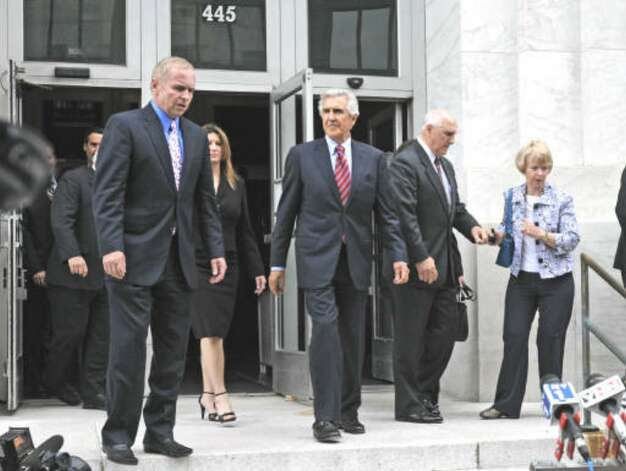 Former state Senate Majority Leader Joseph L. Bruno leaves the Federal Court House after his sentencing in Albany.  (Lori Van Buren / Times Union)