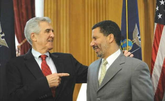 Gov. David Paterson, right, meets with Senate Majority Leader?Joseph?Bruno after Paterson became governor following Gov. Eliot Spitzer's resignation in a prostitution scandal  March 14, 2008. (Times Union file photo)