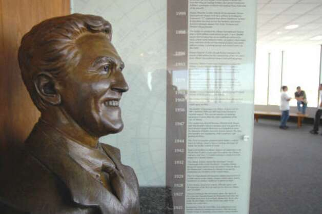 A bust of former Senate Majority Leader Joseph Bruno is displayed on the observation deck of the Albany International Airport in Colonie.  (Paul Buckowski / Times Union)
