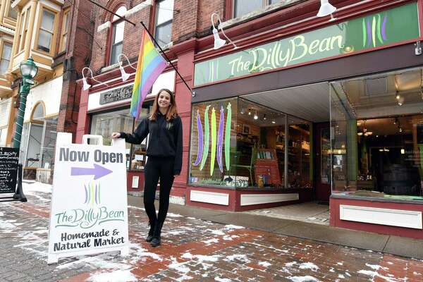 The Dilly Bean's owner Abigail Rockmacher stands for a portrait outside of her store Friday, Jan. 18, 2019 at The Dilly Bean in Schenectady, N.Y. (Phoebe Sheehan/Times Union)