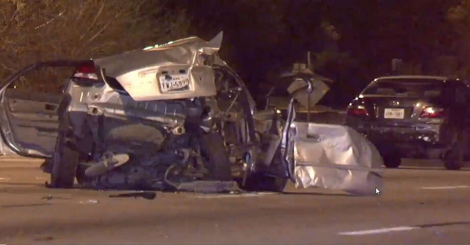 One driver was killed and another was taken to the hospital in critical condition after a five-car wreck about 2:00 a.m. Sunday on the West Loop near Beechnut. Photo: Courtesy: Metro Video