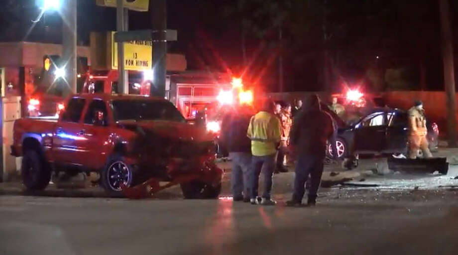 Four people - including a 5-year-old girl - were hospitalized after an overnight wreck on Harrisburg and 75th. Photo: Metro Video