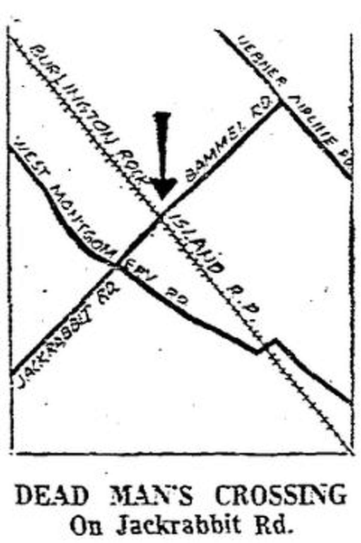 "1959 illustration of ""Dead Man's Crossing"" in northwest Harris County."