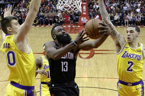 bc2429779f4a 1of6Houston Rockets guard James Harden (13) drives to the basket as Los  Angeles Lakers center Ivica Zubac