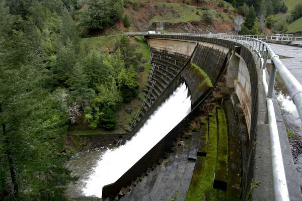 Alpine dam in Marin where there is a waterfall that is man made. on Tuesday Mar 3, 2009 in Fairfax, Calif