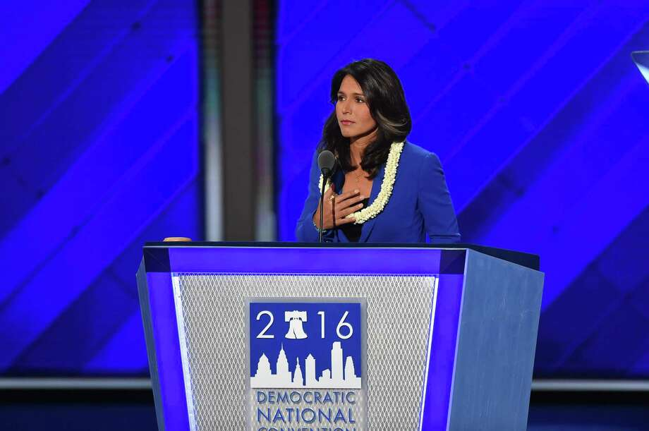 Rep.Tulsi Gabbard, D-Hawaii, at the 2016 Democratic National Convention in Philadelphia. Photo: Washington Post Photo By Ricky Carioti / The Washington Post