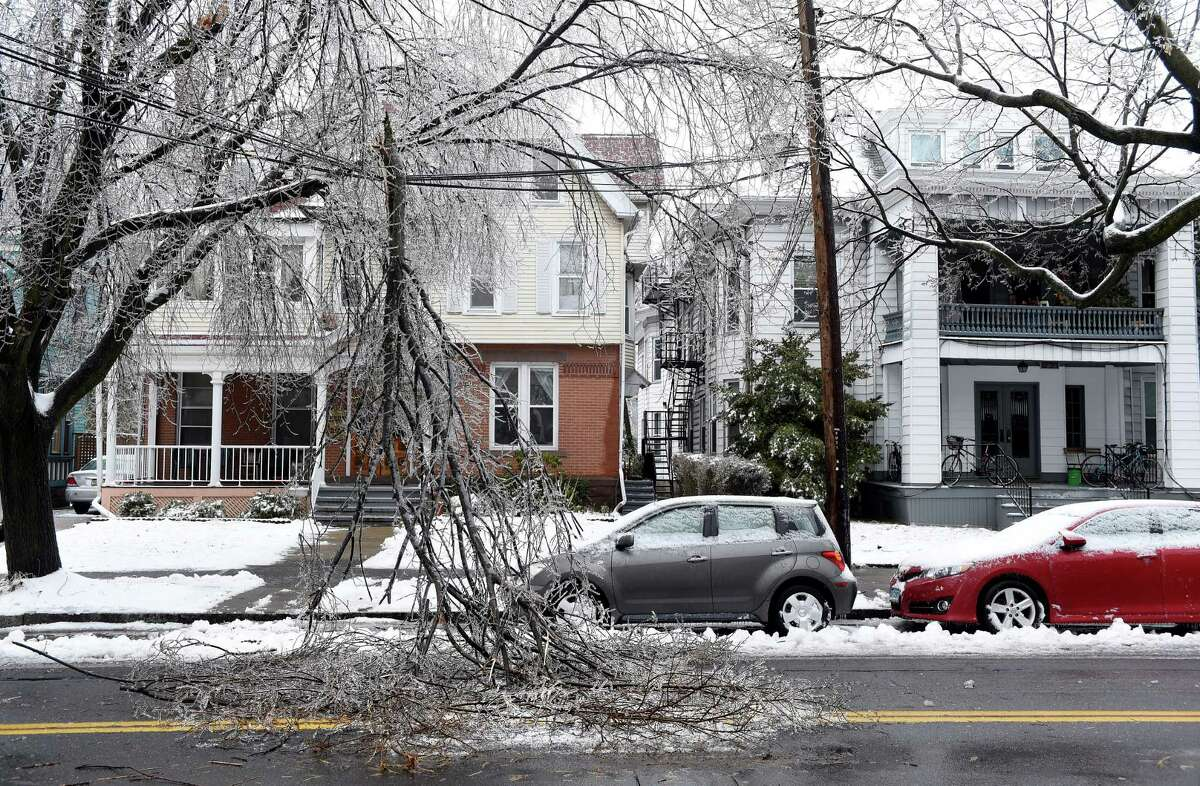 An ice covered tree limb dangles from utility lines on Orange Street in New Haven on January 20, 2019.